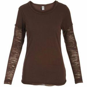 Kavio Women Cocoa Brown 2~layer sleeve burnout tee